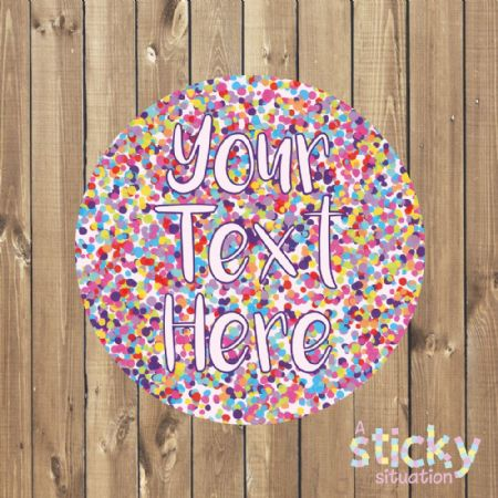 Personalised Customisable Stickers - Confetti Design